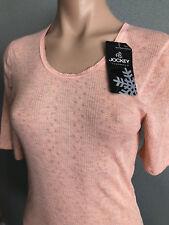 BNWT Ladies Sz 12 Jockey Brand Pale Peach Short Sleeve Warm Thermal Top RRP $30