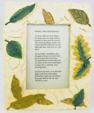 Picture Frame 6 X 4 Autumn Leaf Beige Gold Green Resin Very Heavy With Poem