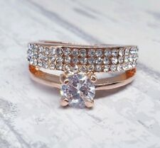 Rose gold ring ladies cz anniversary 7 stone 3 carat steel sparkling all size516