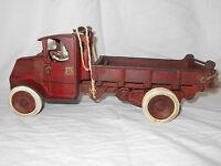 "1932-39 Cast Iron ARCADE 12 1/4"" Mack T Bar Dump Truck w/Dual Whls Rubber Tires"