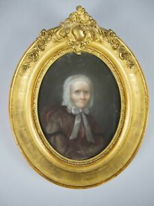19th Century Pastel Portrait Of A Seated Lady In Gilt Frame