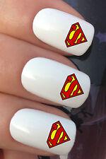 NAIL ART SET #681 x20 SUPERHERO SUPERMAN LOGO WATER TRANSFER DECALS STICKERS