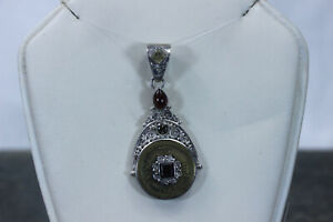 Beautiful Sterling Sajen Chinese Coin Pendant with Garnet and Quartz- 14271