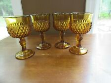 4 - Vtg Mid-Century Amber Indiana Glass Diamond Point Wine Glasses Goblets 5.25""