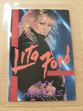 LITA FORD Laminated ALL ACCESS Backstage Tour Pass
