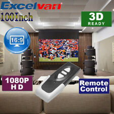 100'' Inch Electric Motorized Projector Screen Home Theater HD TV Projection 3D