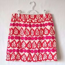 Kate Spade New York Size 8 Skirt Pink Red Floral Print Cotton A-line Party