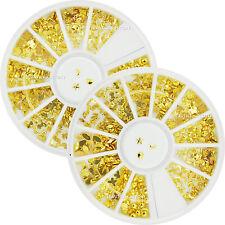 2 Wheels X 12 Styles Mixed Shape Gold Stud Metallic Nail Art Rhinestone (3027x2)