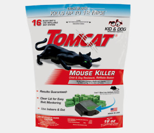 New!! Tomcat MOUSE KILLER Small Refillable 16 Bait Station Mice Pet Safe 0372110