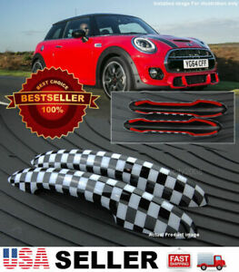 2 Pc Checkered Pattern Exterior Door Handle Covers Cap for 14-19 Mini Cooper F56