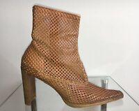 Damen Stiefel Boots High Heels Beige Camel Braun Cognac Gr.: 37