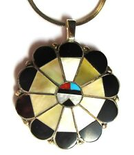 """sterling silver gem inlaid concho necklace, 2"""" diameter concho, 20"""" chain"""