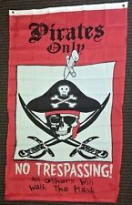 Pirates Only No Trespassing Flag Polyester 5x3 Foot Vertical Banner Jolly Roger