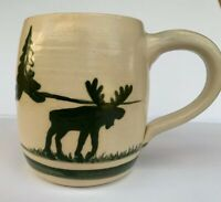 Folk Craft Oversized Moose Country Ceramic Latte / Coffee Mug Preowned Crazing