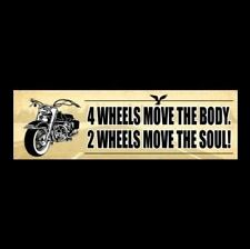 """2 WHEELS MOVE THE SOUL"" motorcycle BUMPER STICKER biker decal Harley-Davidson"