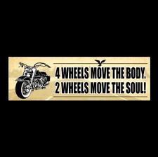 """2 WHEELS MOVE THE SOUL"" motorcycle BUMPER STICKER biker decal Harley-Davidson"