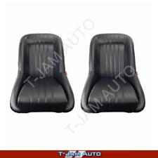 Classic Low Back Pair 2 x Black Leather Car Bucket Seats - Hot Rod NEW