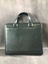 Foray Zippered Briefcase Portfolio Organizer Black Pu Leather 3 Ring Binder