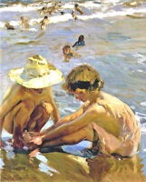 Children At Beach Playing In Sand Ocean Painting Real 8x10 Canvas Art Print