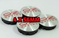 4 x 56mm OZ Racing Logo Alufelge Nabendeckel Satz - Silber Rot