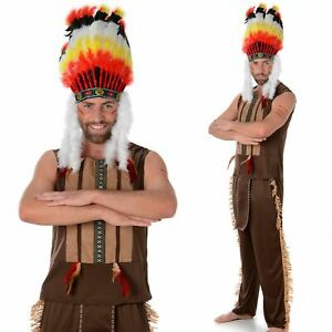 Mens Red Indian Chief Costume Native American Warrior Fancy Dress Outfit