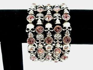 Women's Halloween 5 Strand Skull Bracelet Gothic Heavy Metal Pink Gems Jewels EC