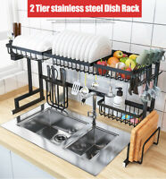 85/95cm AU 304 Stainless Steel Dish Rack Over The Sink Dish Drying Rack Holder