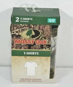 Mens Mossy Oak Size XL Tshirt pack of 2 (Camo/Black) Cotton w/ Moisture Wicking