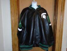 Michigan State Spartans NCAA Pleather Varsity Winter Jacket Size 3XL NWT