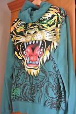 ED HARDY Christian Audigier Men's SIZE XXL 2X Hoodie HUGE GIANT TIGER Teal Blue