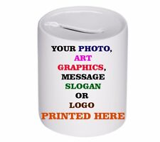 Personalised Custom Ceramic Piggy Bank We Print Your Text Logo Art Photo Slogan