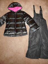 Snowsuits Shiney Black Jackets Girls Snow Bibs Coats Outerwear Pant 2 pc 4T, 4/5