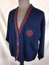 Vintage Pendleton Wool Cardigan Sweater Metal Buttons Women's 3X Blue Red EUC