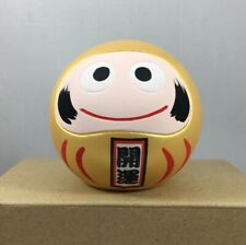 "Japanese 2.25""H Clay Gold Daruma Doll Good Fortune MONEY & Success Made in Japan"