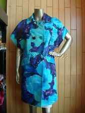 $2925 New BLUMARINE Blue Purple Green Floral Print Cotton Silk Jacket Coat 6 40