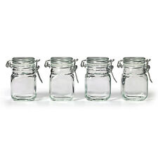 NEW Square Glass Jar w/ Hinge Glass Lid 4 Piece pcs Set Canisters Storage Clear