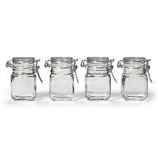 NEW Square Glass Jar w/ Hinge Glass Lid 4 Piece pcs Set Canisters Storage Clear