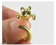 Anillo de gato de oro con ojos negros nuevo Envolvente Anillo Abierto, Ajustable para adaptarse a todos los
