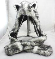 Unisex Faux Fur HUSKY Animal Hood Hoodie Hat 3 in 1 Scarf Pocket cap For X'mas