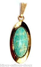 Pendentif ancien plaqué or 18 carats Amazonite bleu vert bijou pendant