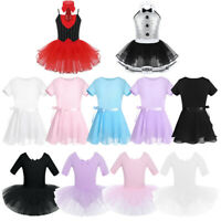 Girl Ballet Dance Dress Leotard Dancing Skating Show Short Sleeve Dancewear Xmas