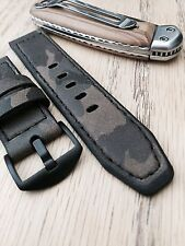 24mm Handmade Camo Military Genuine Leather Vintage Watch Band Apple watch