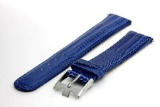 18 mm. Genuine Leather Strap with Regular Buckle - Blue