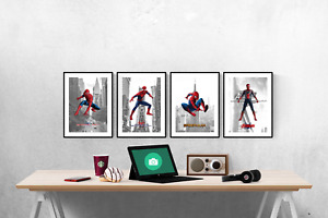 Marvel Avengers Spiderman Location Set Of 4 Prints Pictures Wall Art Poster