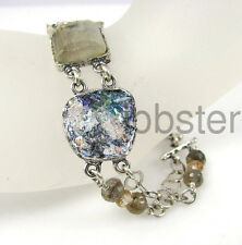 ANGIE OLAMI ANCIENT ROMAN GLASS GEMSTONE Sterling Silver Bracelet HALF PRICE!