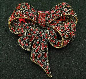 Elegant BIG Red Rhinestone BOW knot Christmas Gift RIBBON Vintage Inspire Brooch