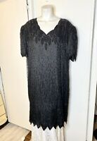 Lawrence Kazar Black Sequins Beaded Silk Evening Dress 3X