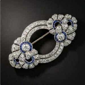 Antique Diamond Art Deco Brooch French Diamond Sapphire Christmas Broch