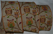 """Wired Ribbon~Autumn Owl~Woven Tan~Fall Tree~Harvest~Thanksgiving~Wreath~2.5""""~Bow"""