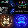 2Pc Switchable 7 Colors LED Car Cup Holder Bottom Pad Atmosphere Light For Mazda